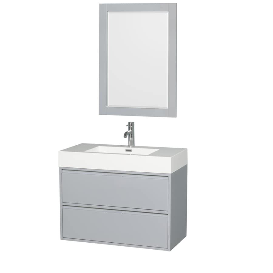 Wyndham Collection Daniella Dove Gray Integrated Single Sink Bathroom Vanity with Acrylic Top (Common: 36-in x 18-in; Actual: 35.25-in x 18-in)