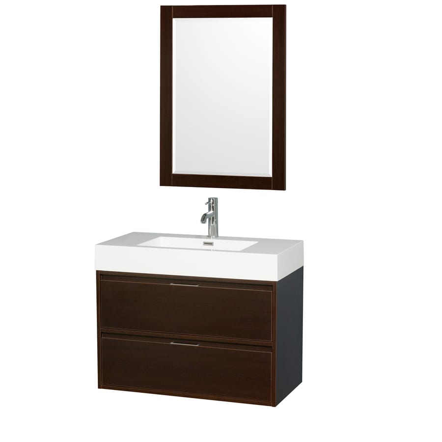 Vanity Tops With Integrated Sink : Shop wyndham collection daniella espresso integral single