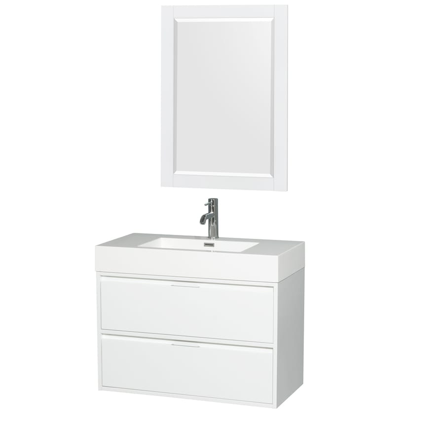 Wyndham Collection Daniella Glossy White Integrated Single Sink Bathroom Vanity with Acrylic Top (Common: 36-in x 18-in; Actual: 35.25-in x 18-in)