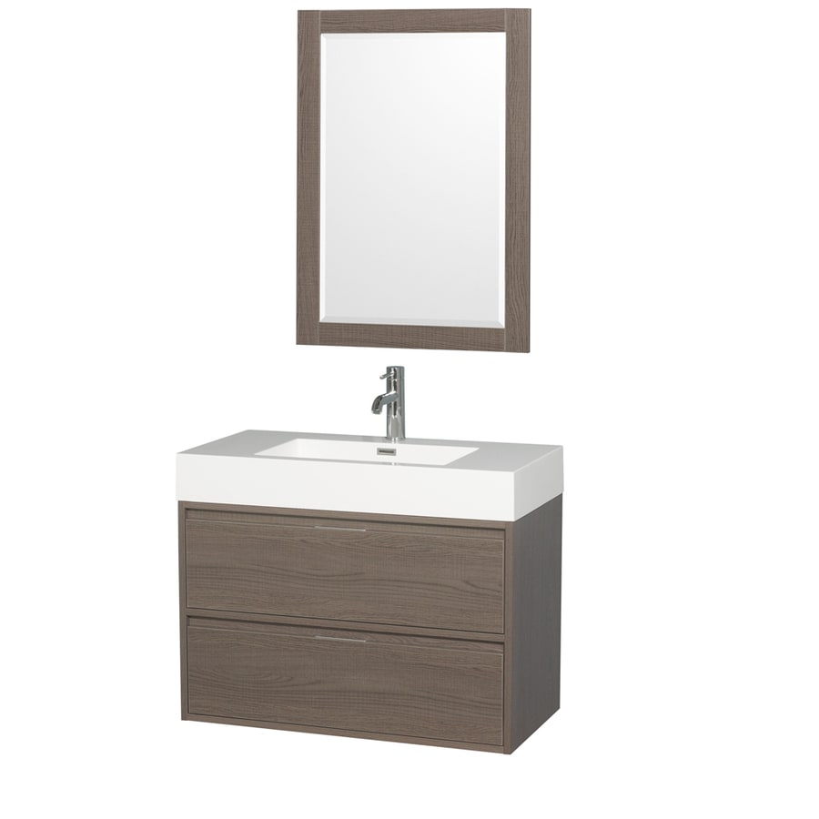 Wyndham Collection Daniella Gray Oak Integrated Single Sink Bathroom Vanity with Acrylic Top (Common: 36-in x 18-in; Actual: 35.25-in x 18-in)