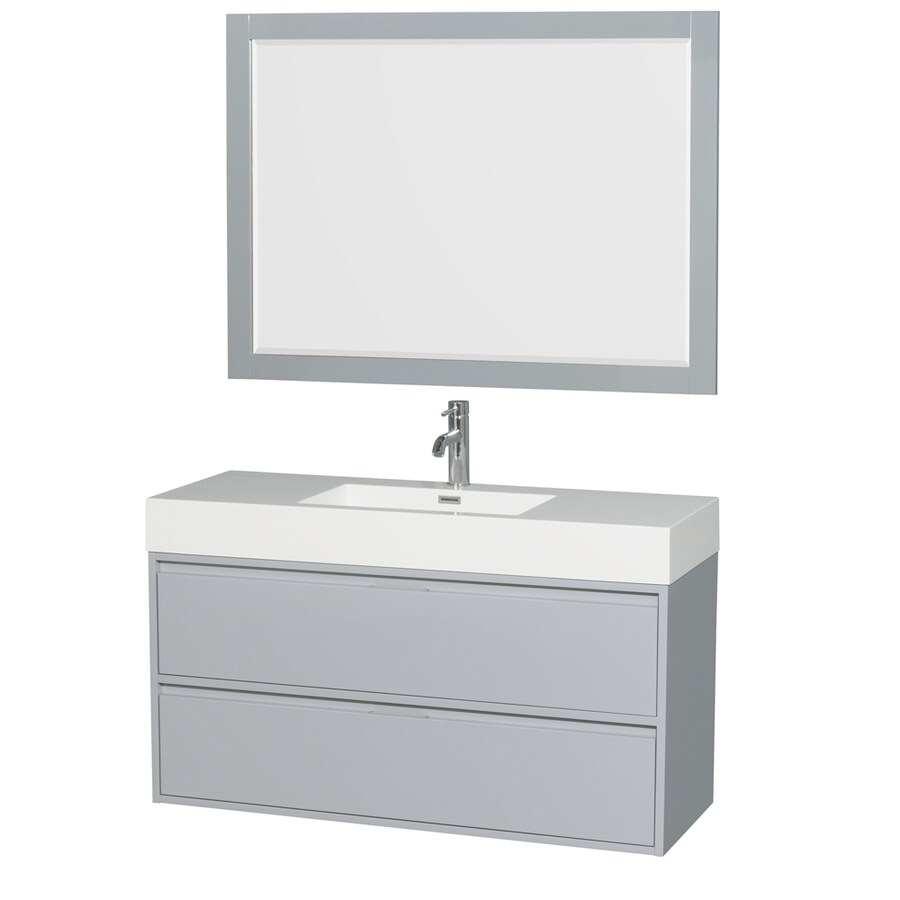 Wyndham Collection Daniella Dove Gray Integrated Single Sink Bathroom Vanity with Acrylic Top (Common: 48-in x 18-in; Actual: 47.25-in x 18-in)