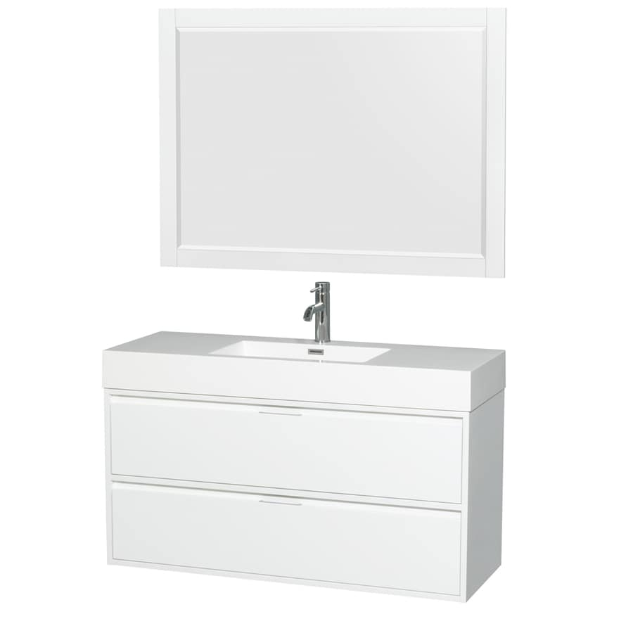 Shop Wyndham Collection Daniella Glossy White Integrated Single Sink Bathroom Vanity With