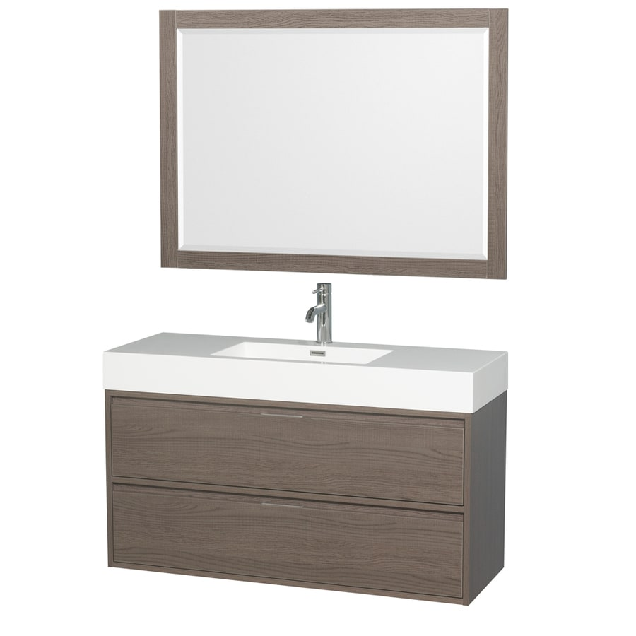 Wyndham Collection Daniella Gray Oak Integrated Single Sink Bathroom Vanity with Acrylic Top (Common: 48-in x 18-in; Actual: 47.25-in x 18-in)