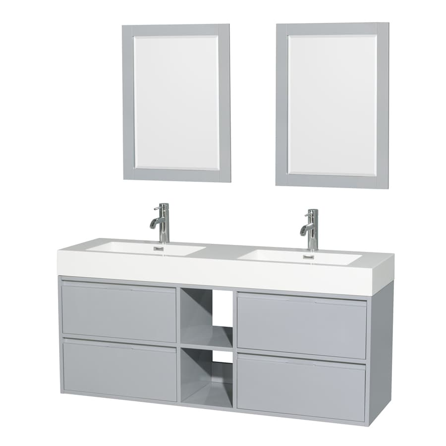 Wyndham Collection Daniella Dove Gray Integrated Double Sink Bathroom Vanity with Acrylic Top (Common: 60-in x 18-in; Actual: 60-in x 18-in)