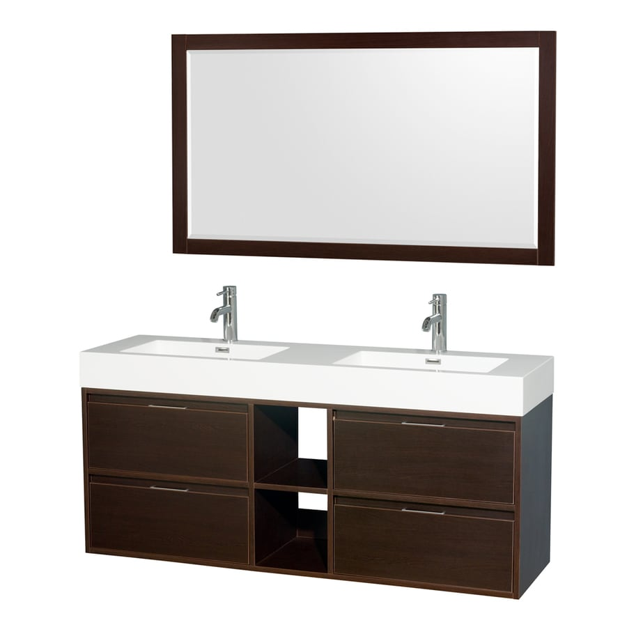 Wyndham Collection Daniella Espresso Integrated Double Sink Bathroom Vanity with Acrylic Top (Common: 60-in x 18-in; Actual: 60-in x 18-in)