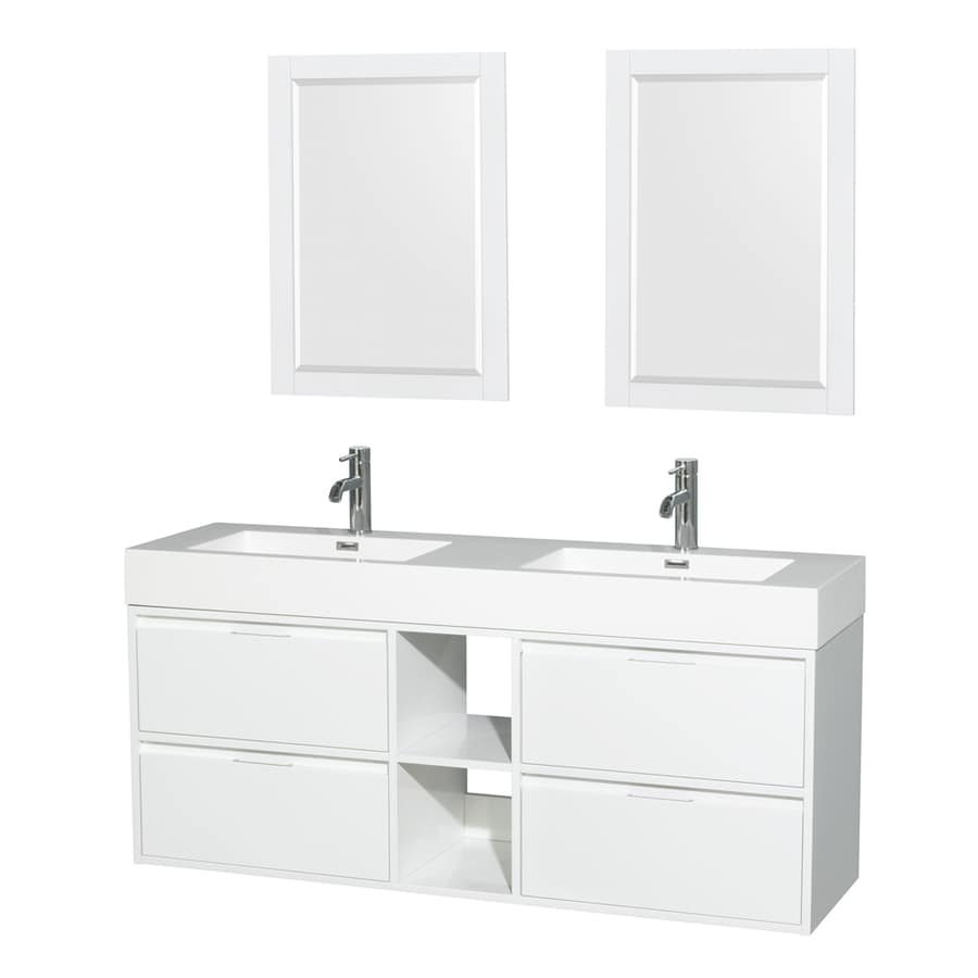 Wyndham Collection Daniella Glossy White Integrated Double Sink Bathroom Vanity with Acrylic Top (Common: 60-in x 18-in; Actual: 60-in x 18-in)