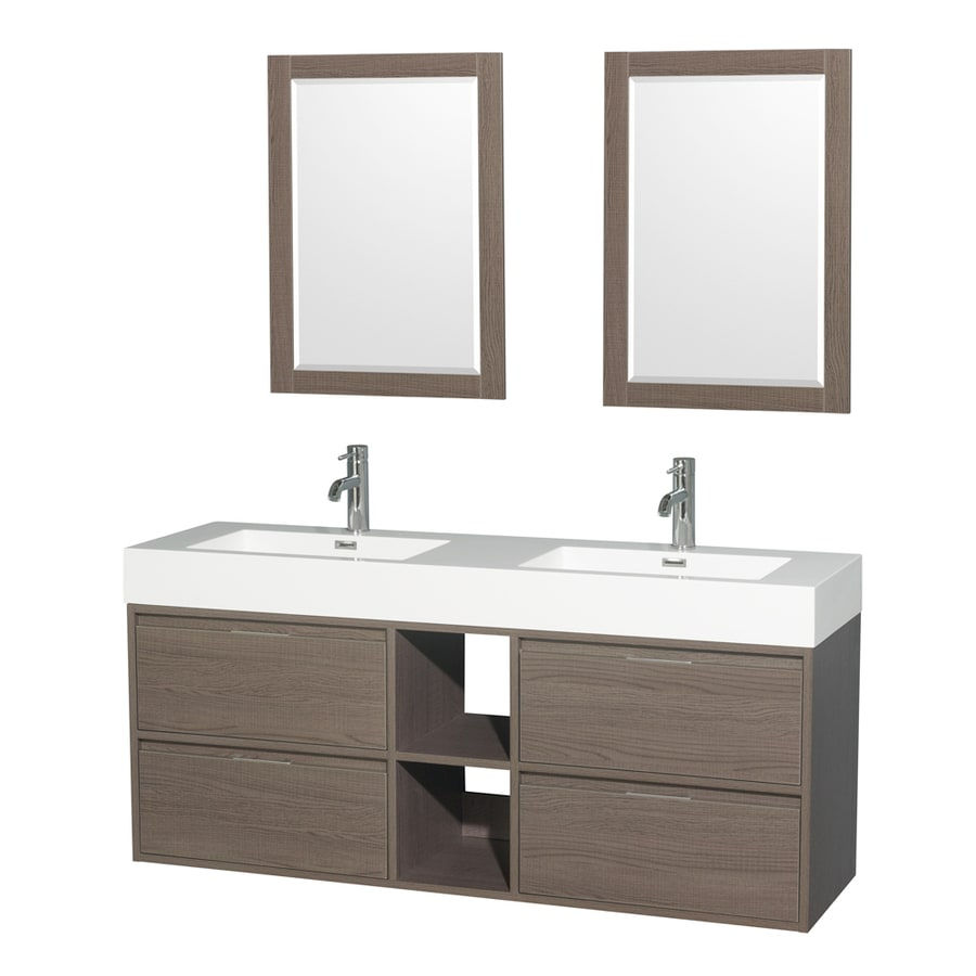 Wyndham Collection Daniella Gray Oak 60-in Integral Double Sink Bathroom Vanity with Acrylic Top (Mirror Included)