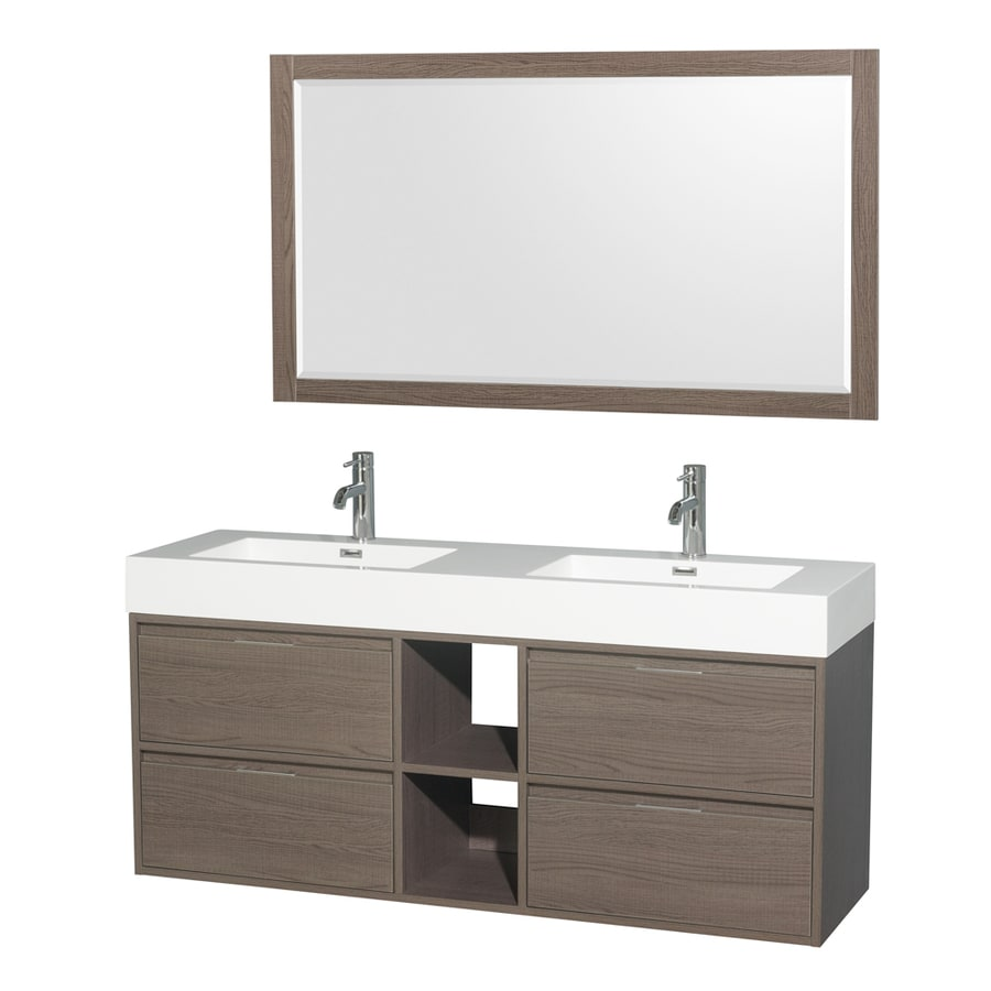 Wyndham Collection Daniella Gray Oak Integrated Double Sink Bathroom Vanity with Acrylic Top (Common: 60-in x 18-in; Actual: 60-in x 18-in)