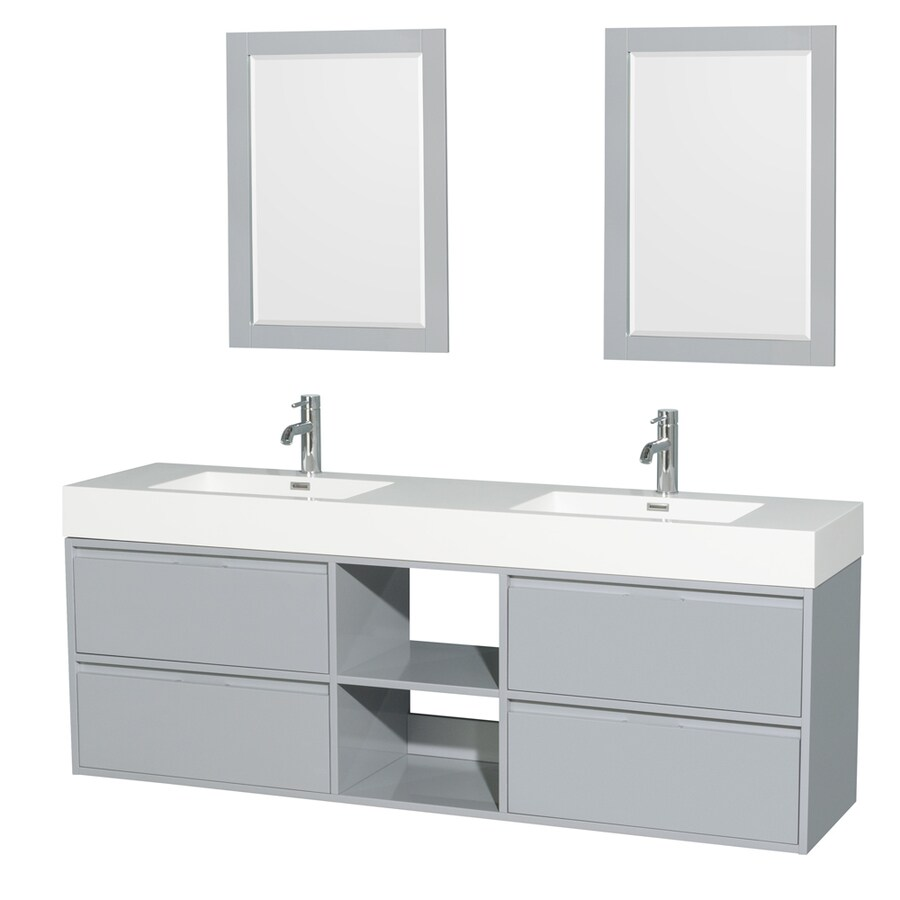 Wyndham Collection Daniella Dove Gray Double Sink Vanity