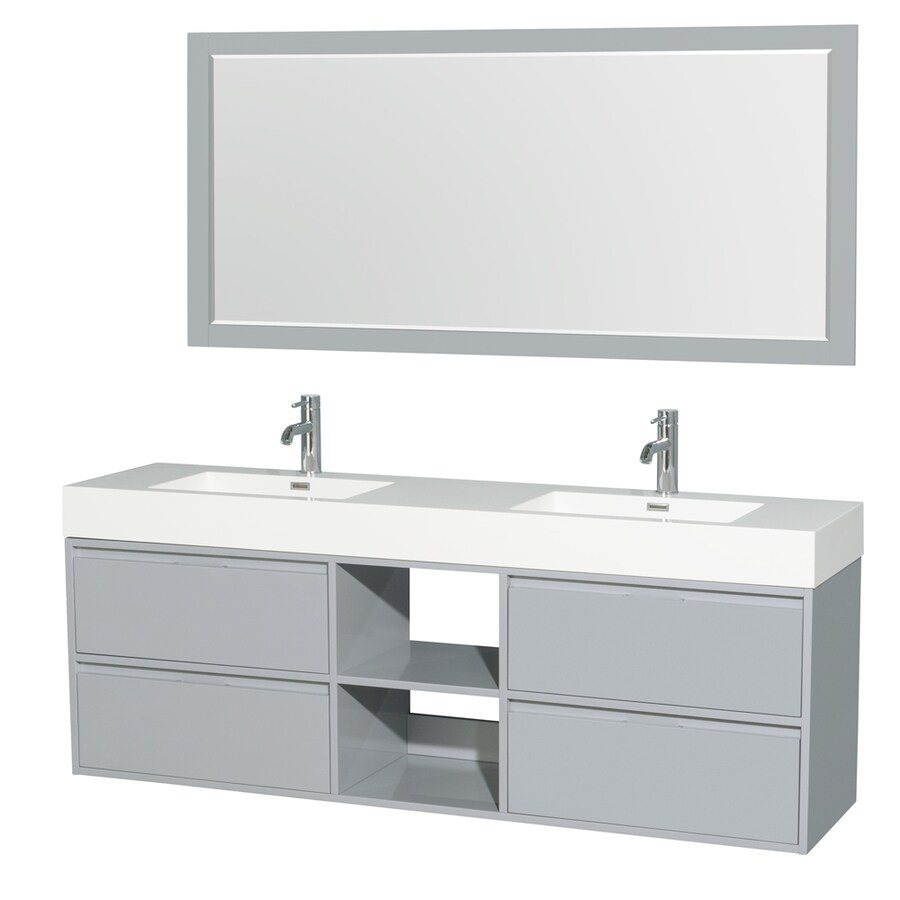 Wyndham Collection Daniella Dove Gray Integrated Double Sink Bathroom Vanity with Acrylic Top (Common: 72-in x 18-in; Actual: 72-in x 18-in)