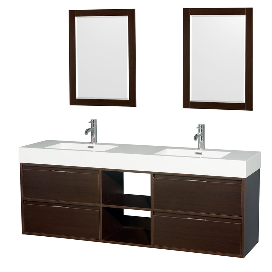Wyndham Collection Daniella Espresso Integrated Double Sink Bathroom Vanity with Acrylic Top (Common: 72-in x 18-in; Actual: 72-in x 18-in)