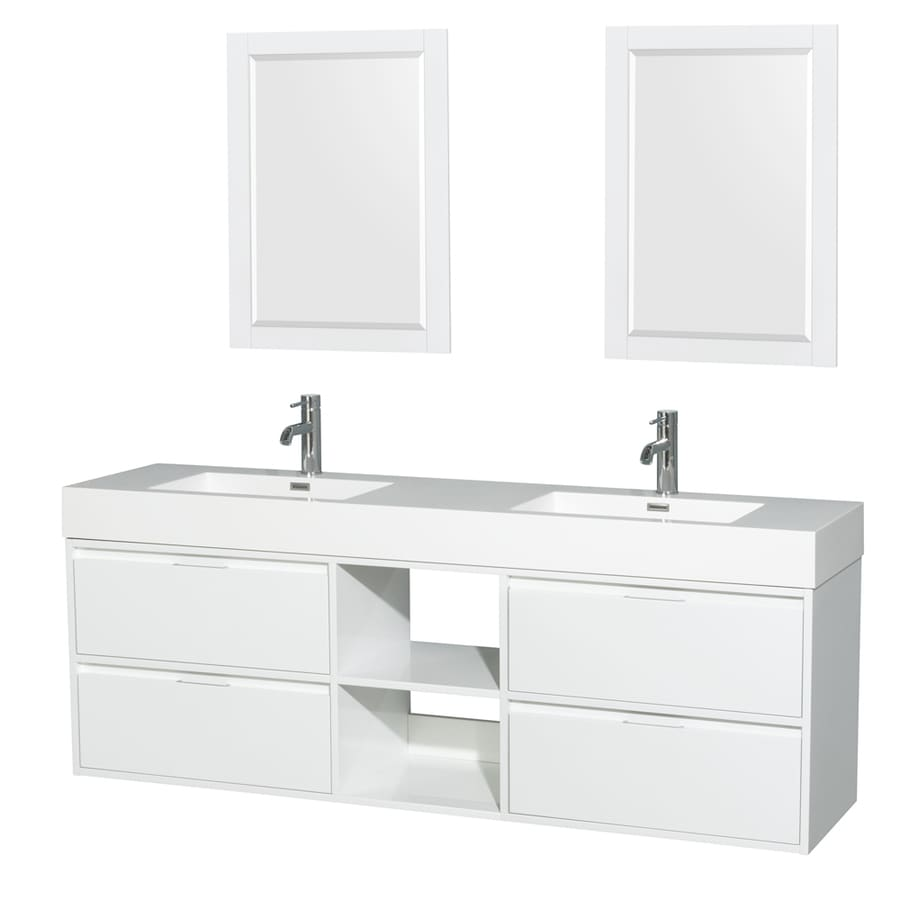 Wyndham Collection Daniella Glossy White Integrated Double Sink Bathroom Vanity with Acrylic Top (Common: 72-in x 18-in; Actual: 72-in x 18-in)