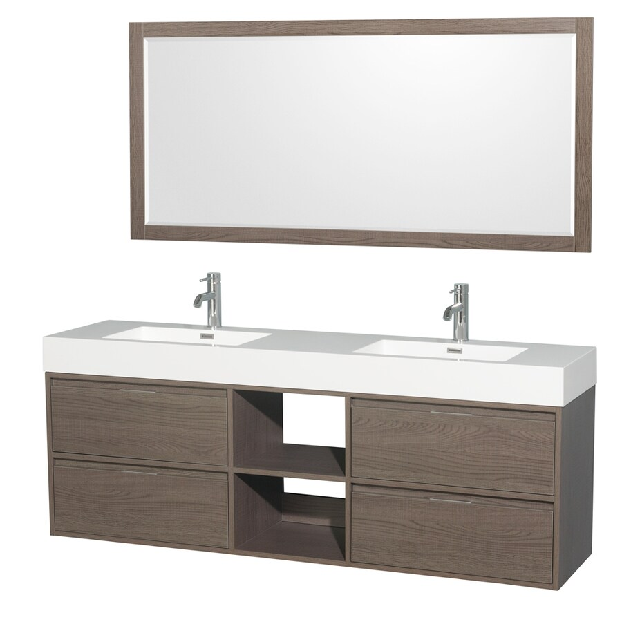 Wyndham Collection Daniella Gray Oak Integrated Double Sink Bathroom Vanity with Acrylic Top (Common: 72-in x 18-in; Actual: 72-in x 18-in)