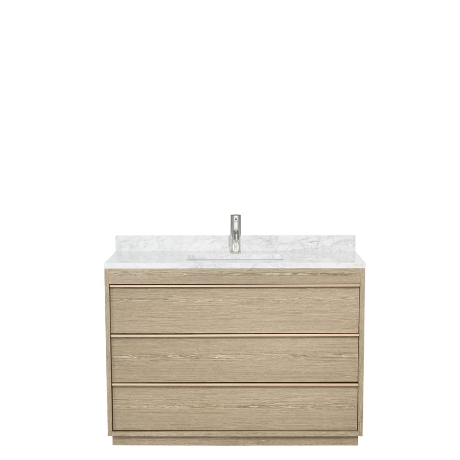 Wyndham Collection Naya Ash Gray Undermount Single Sink Bathroom Vanity with Natural Marble Top (Common: 48-in x 22-in; Actual: 48-in x 22-in)