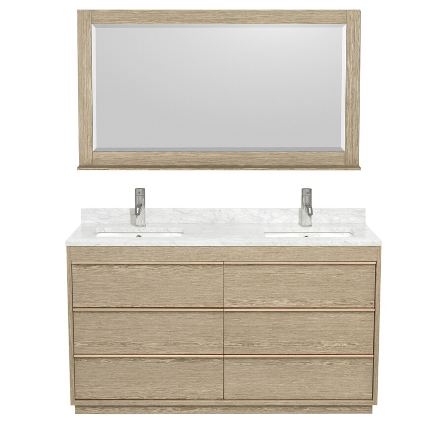 Wyndham Collection Naya Ash Gray Undermount Double Sink Bathroom Vanity with Natural Marble Top (Common: 60-in x 22-in; Actual: 60-in x 22-in)