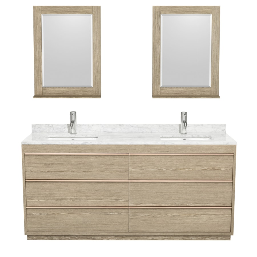 Wyndham Collection Naya Ash Gray Undermount Double Sink Bathroom Vanity with Natural Marble Top (Common: 72-in x 22-in; Actual: 71.75-in x 22-in)