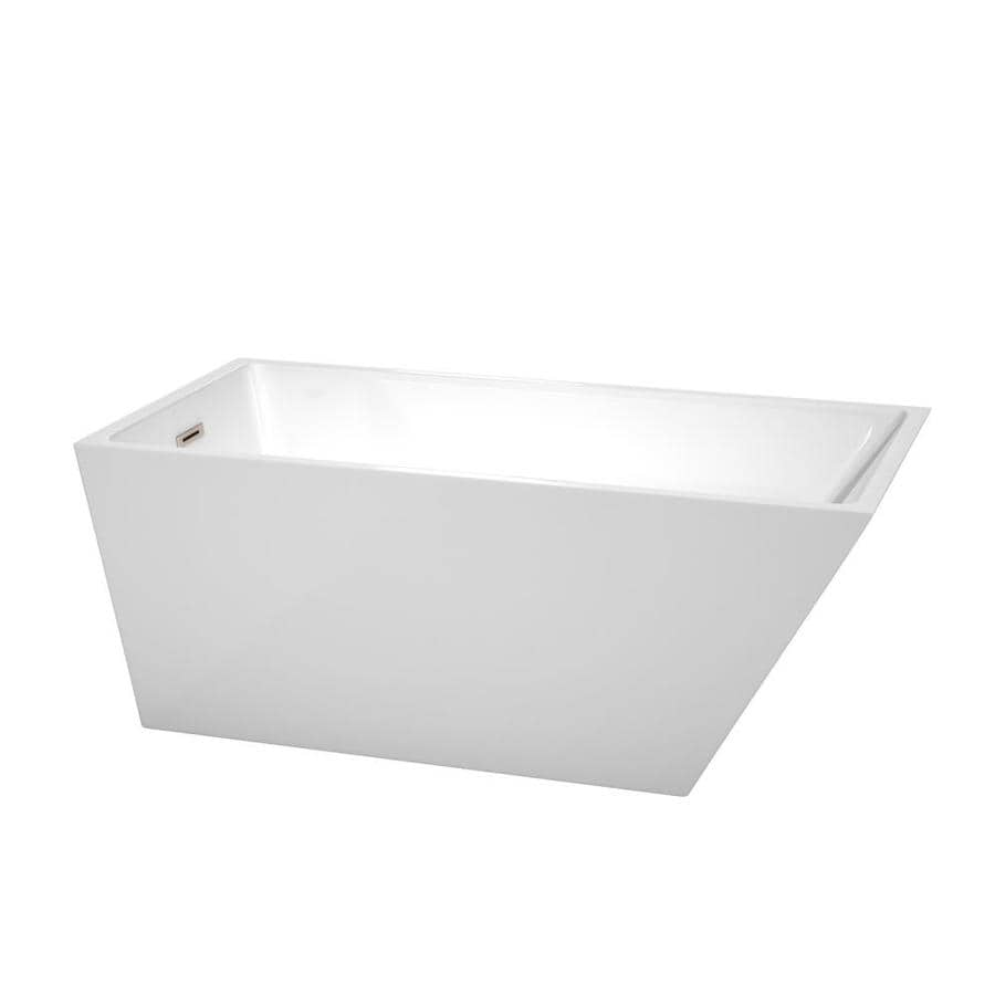 Wyndham Collection Hannah 59 In White Acrylic Rectangular Left Hand Drain Freestanding Bathtub