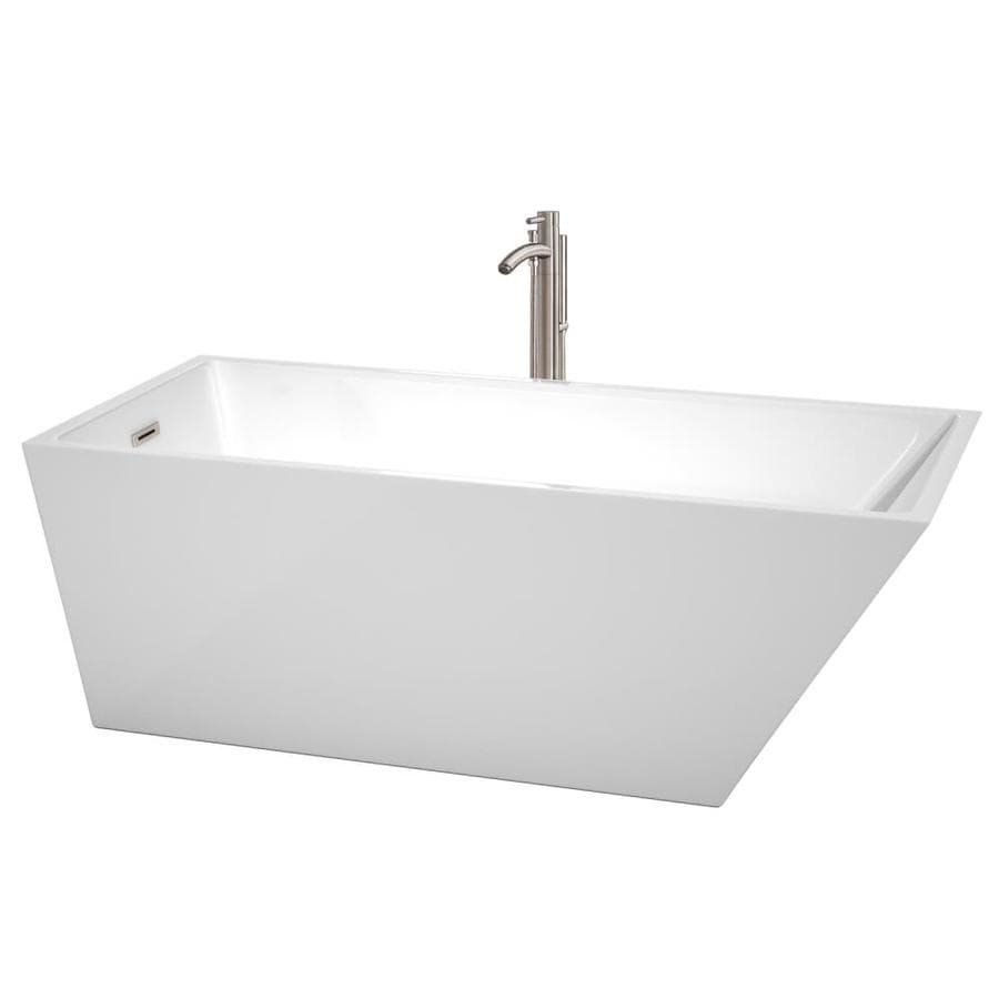 Wyndham Collection Hannah White Acrylic Rectangular Freestanding Bathtub with Left-Hand Drain (Common: 32-in x 67-in; Actual: 23.5-in x 31.5-in x 67-in