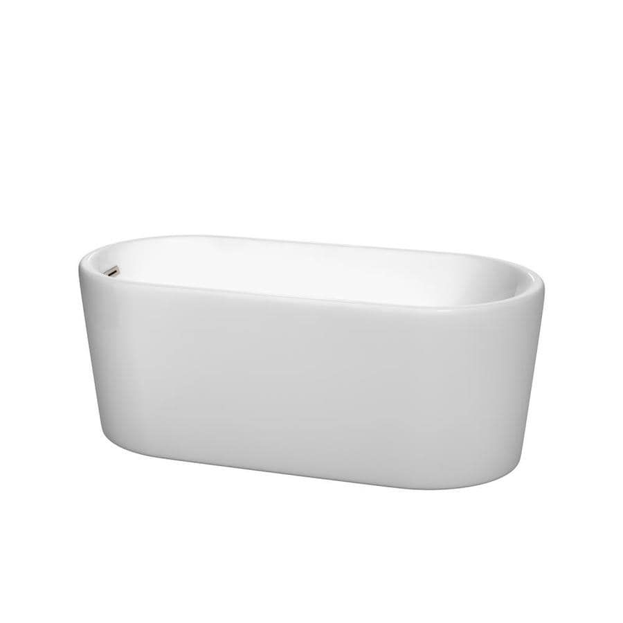 Wyndham Collection Ursula 59-in White Acrylic Freestanding Bathtub with Left-Hand Drain