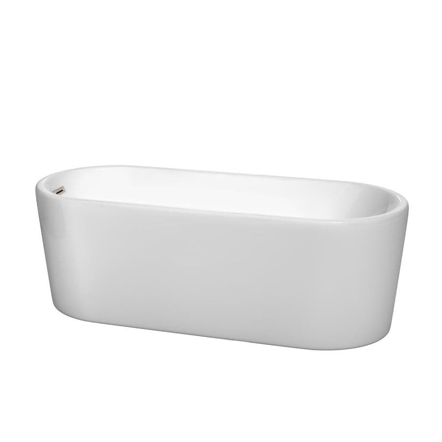 Wyndham Collection Ursula 67-in White Acrylic Freestanding Bathtub with Left-Hand Drain