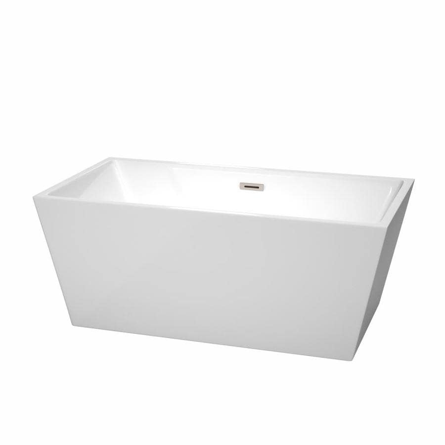 Wyndham Collection Sara 59-in White Acrylic Freestanding Bathtub with Center Drain