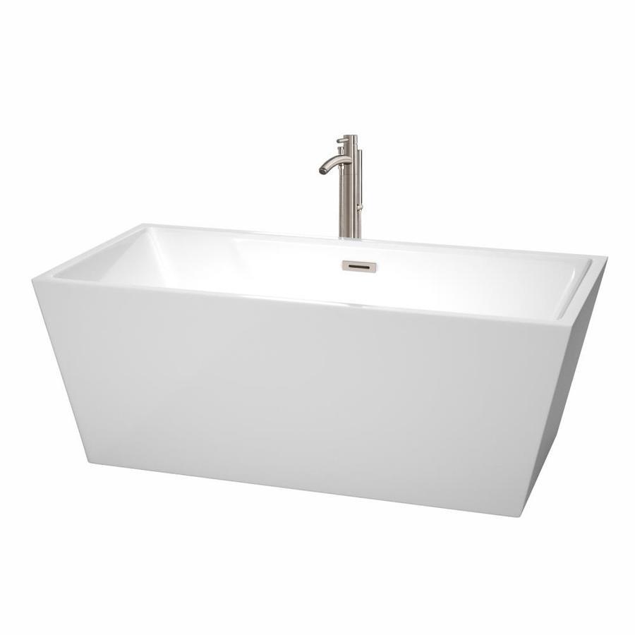 Wyndham Collection Sara 63-in White Acrylic Freestanding Bathtub with Center Drain