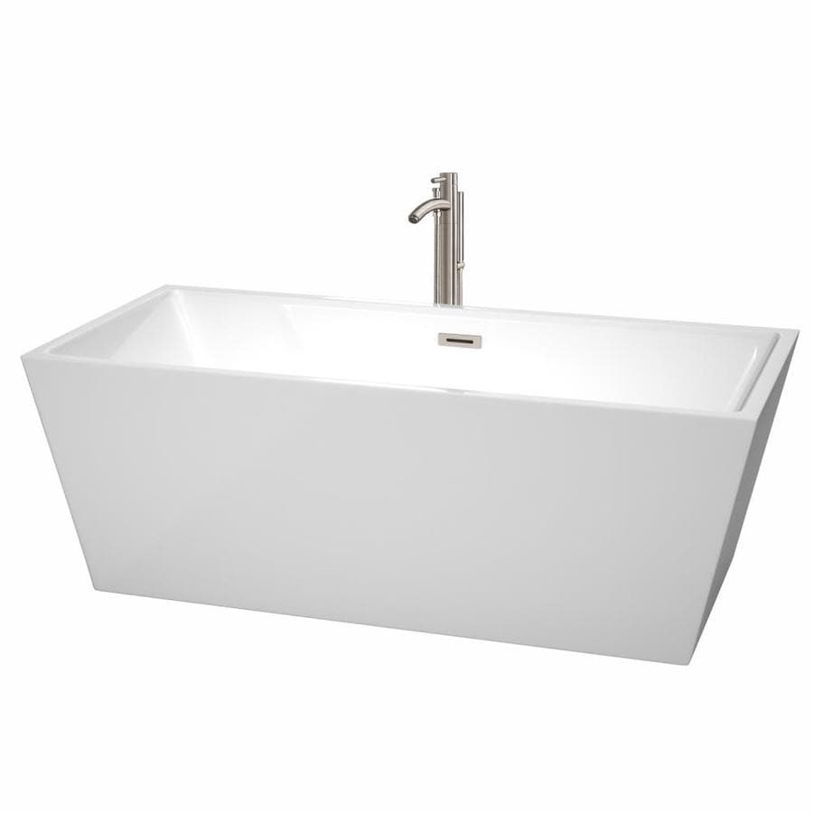 Wyndham Collection Sara 67-in White Acrylic Freestanding Bathtub with Center Drain