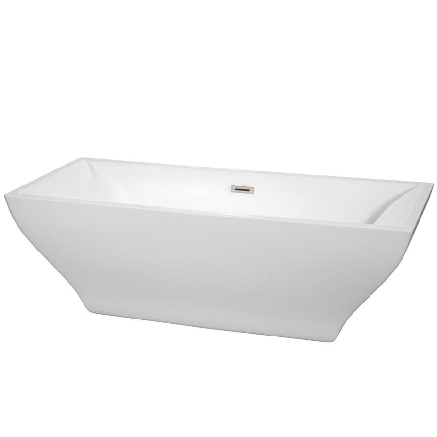 Wyndham Collection Maryam White Acrylic Rectangular Freestanding Bathtub with Center Drain (Common: 31-in x 71-in; Actual: 23-in x 31.25-in x 70.75-in)