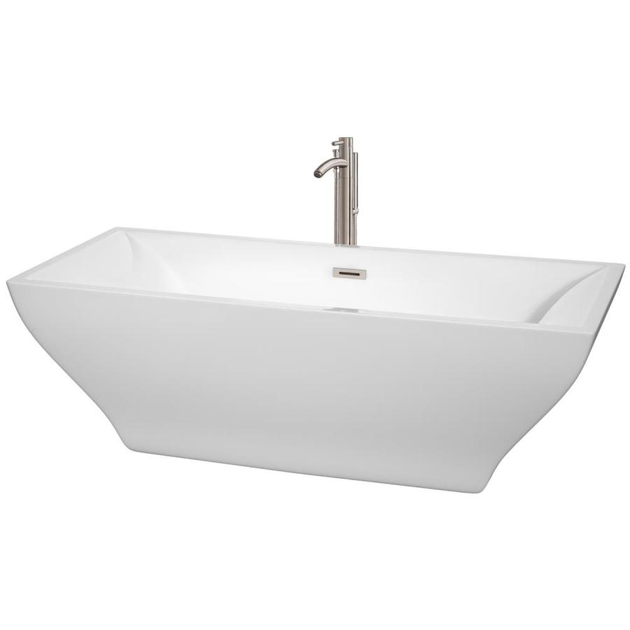 Wyndham Collection Maryam 70.75-in White Acrylic Freestanding Bathtub with Center Drain