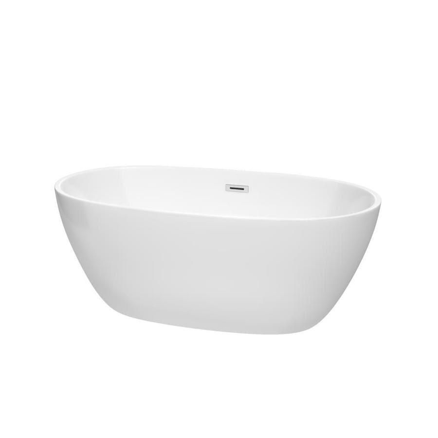 Wyndham Collection Juno 59-in White Acrylic Freestanding Bathtub with Center Drain