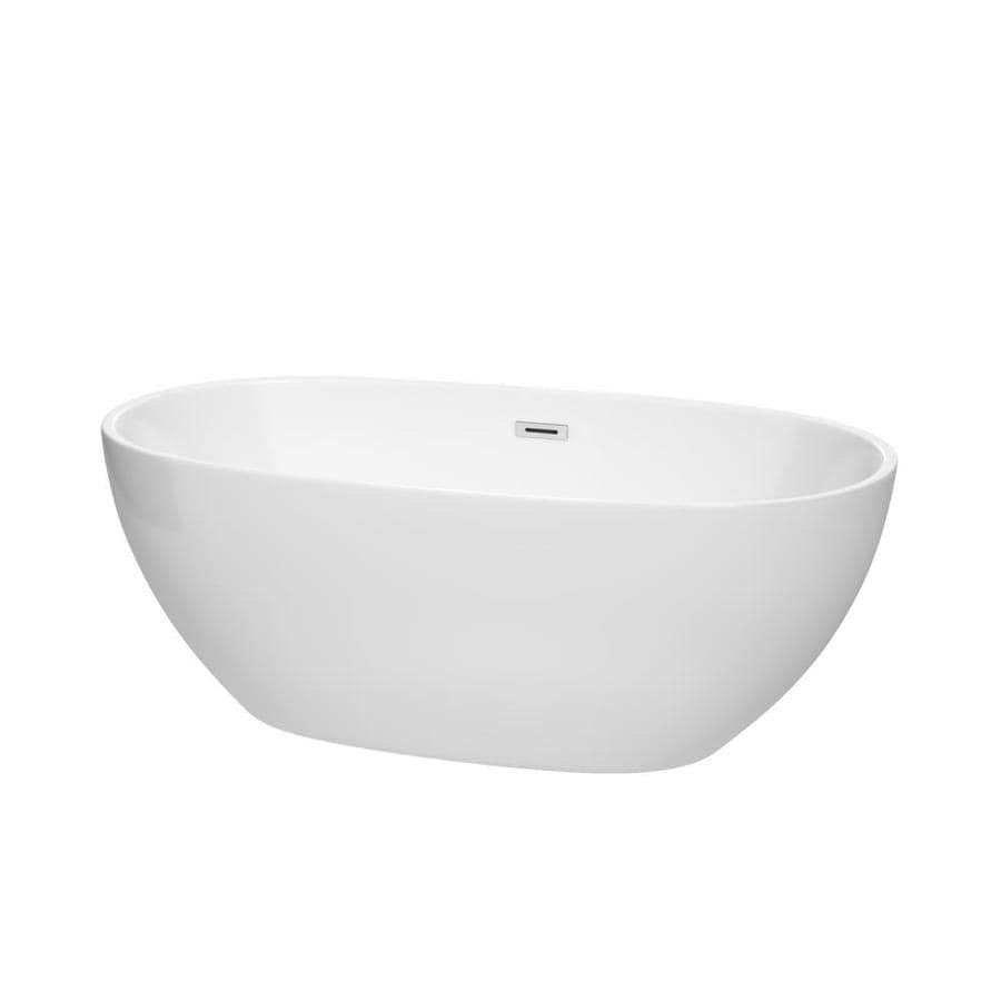 Wyndham Collection Juno 63-in White Acrylic Freestanding Bathtub with Center Drain
