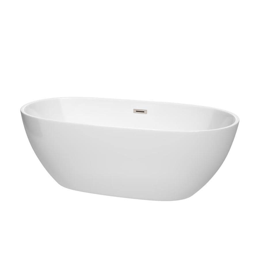 Wyndham Collection Juno 67-in White Acrylic Freestanding Bathtub with Center Drain