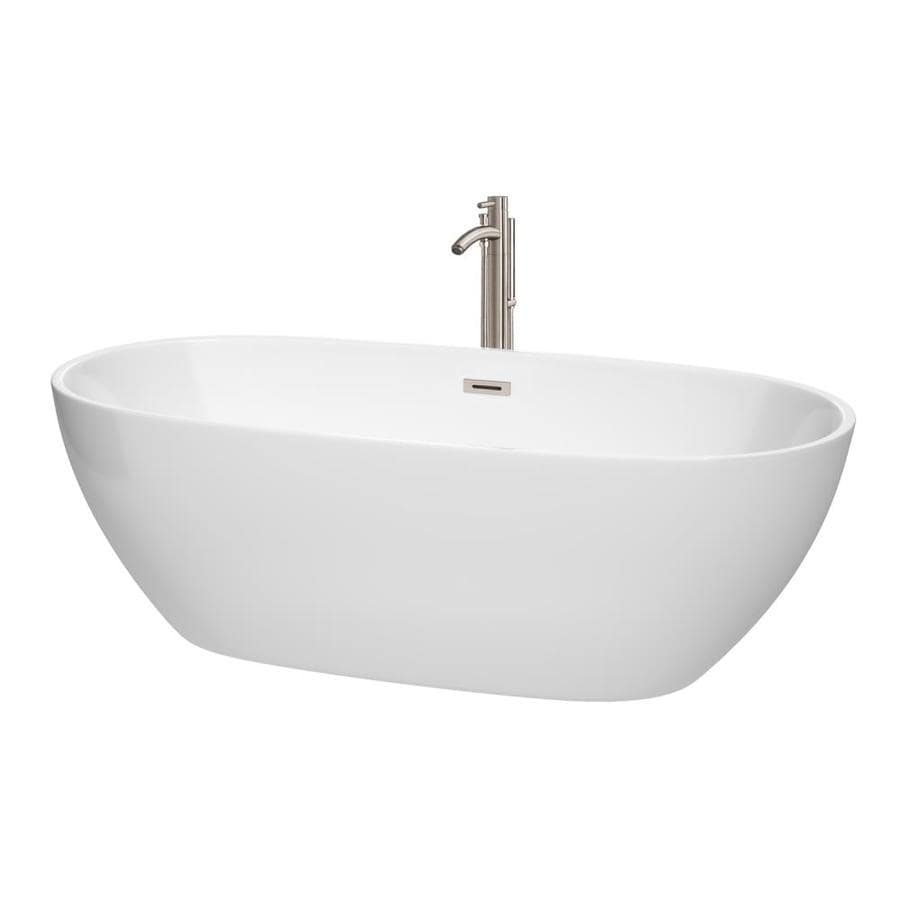 Wyndham Collection Juno 71-in White Acrylic Freestanding Bathtub with Center Drain