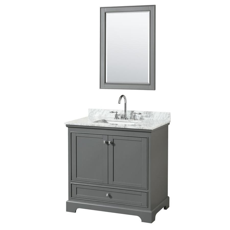 Wyndham Collection Deborah Dark Gray Undermount Single Sink Bathroom Vanity with Natural Marble Top (Common: 36-in x 22-in; Actual: 36-in x 22-in)