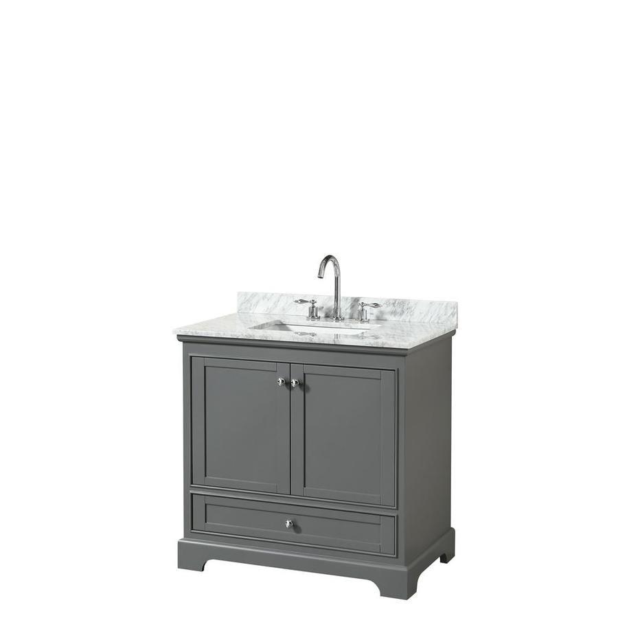 Wyndham Collection Deborah Dark Gray Undermount Single Sink Bathroom Vanity with Natural Marble Top (Common: 36-in x 22-in; Actual: 36-in x 22-in)