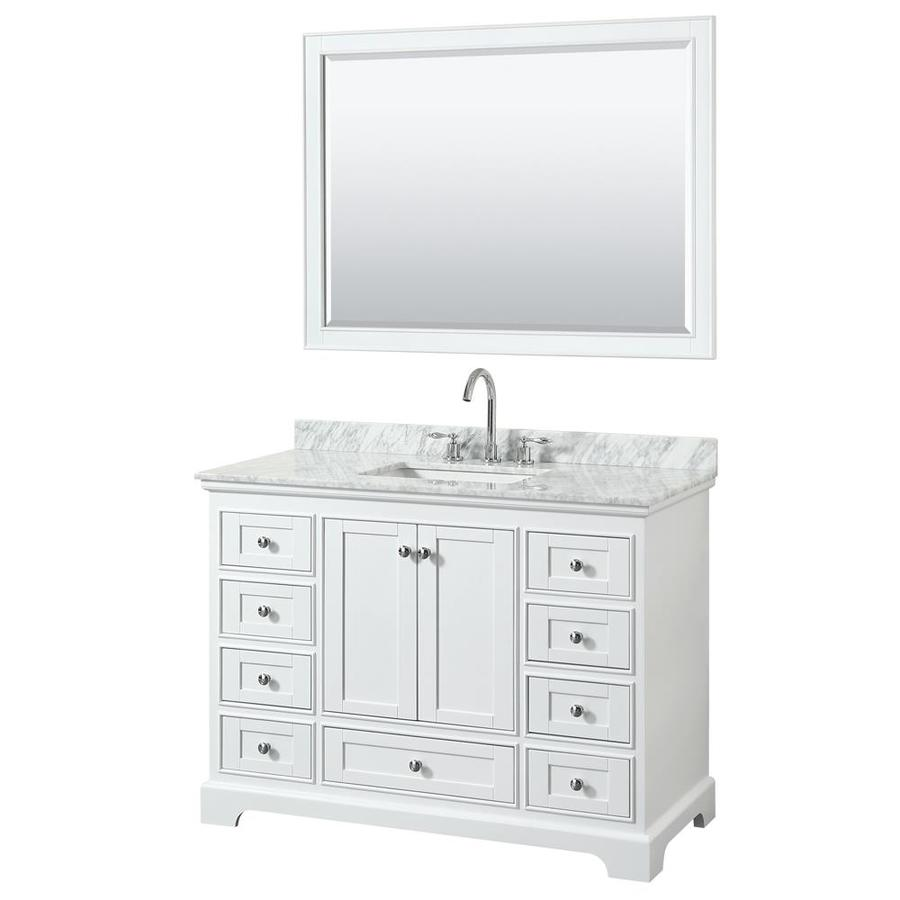 Wyndham Collection Deborah White Undermount Single Sink Bathroom Vanity with Natural Marble Top (Common: 48-in x 22-in; Actual: 48-in x 22-in)
