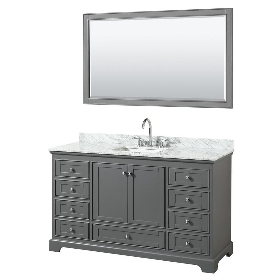 Wyndham Collection Deborah Dark Gray Undermount Single Sink Bathroom Vanity  With Natural Marble Top (Common