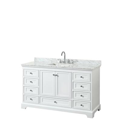 Wyndham Collection Deborah 60 In White Single Sink Bathroom Vanity