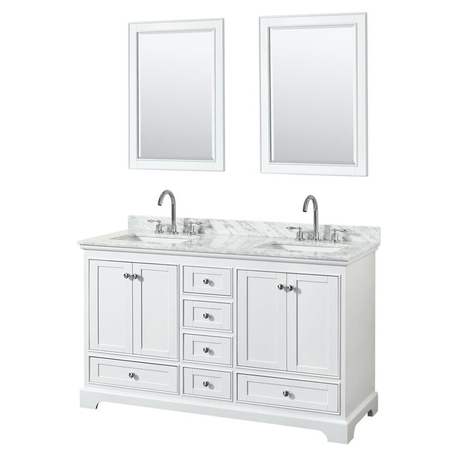 Wyndham Collection Deborah White Undermount Double Sink Bathroom Vanity with Natural Marble Top (Common: 60-in x 22-in; Actual: 60-in x 22-in)