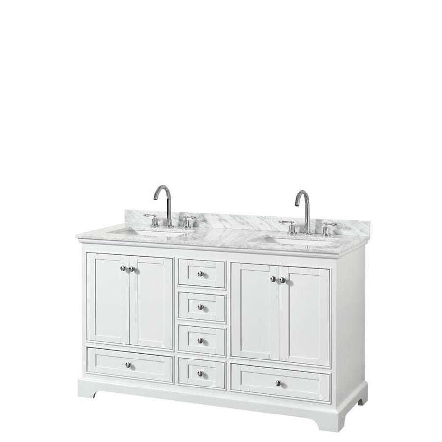 Wyndham Collection Deborah 60 In White Undermount Double Sink Bathroom Vanity With White Carrara Natural Marble Top In The Bathroom Vanities With Tops Department At Lowes Com