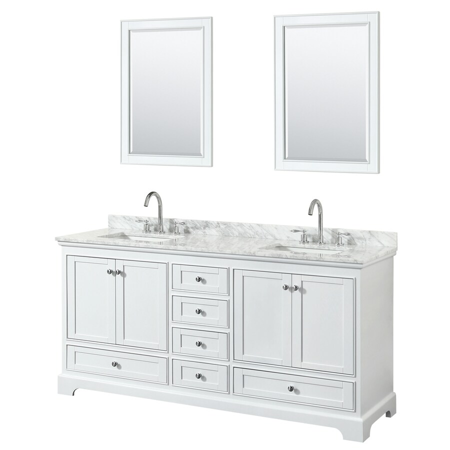 Wyndham Collection Deborah White Double Sink Vanity With White Carrara  Natural Marble Top (Common:
