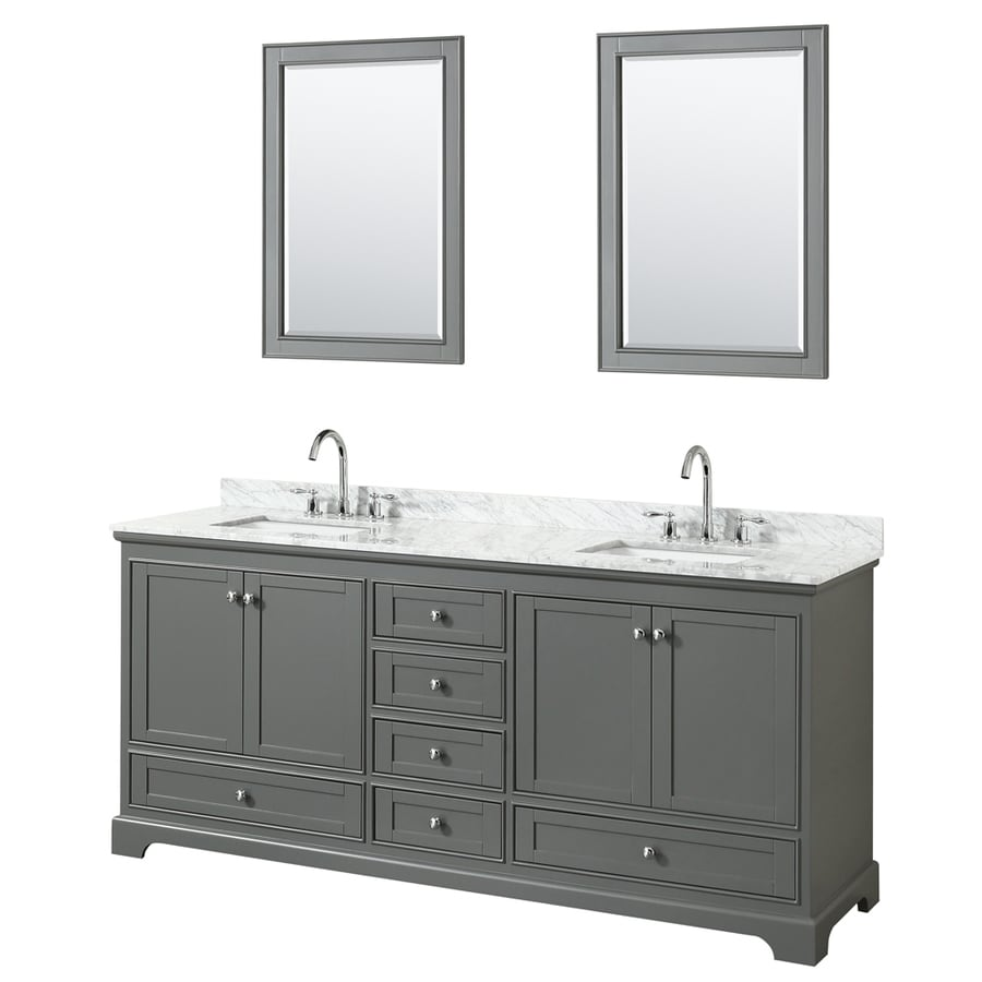 Wyndham Collection Deborah Dark Gray Undermount Double Sink Bathroom Vanity with Natural Marble Top (Common: 80-in x 22-in; Actual: 79.75-in x 22-in)