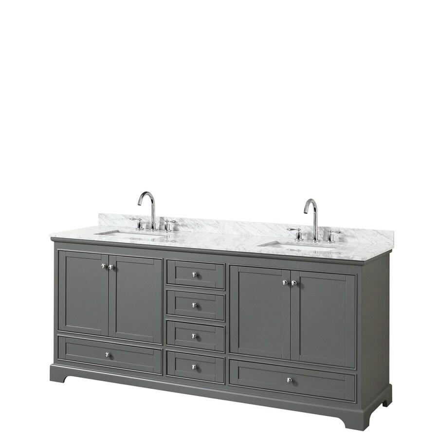 Wyndham Collection Deborah Dark Gray Undermount Double Sink Bathroom Vanity with Natural Marble Top (Common: 80-in x 22-in; Actual: 79.75-in x 22-in)