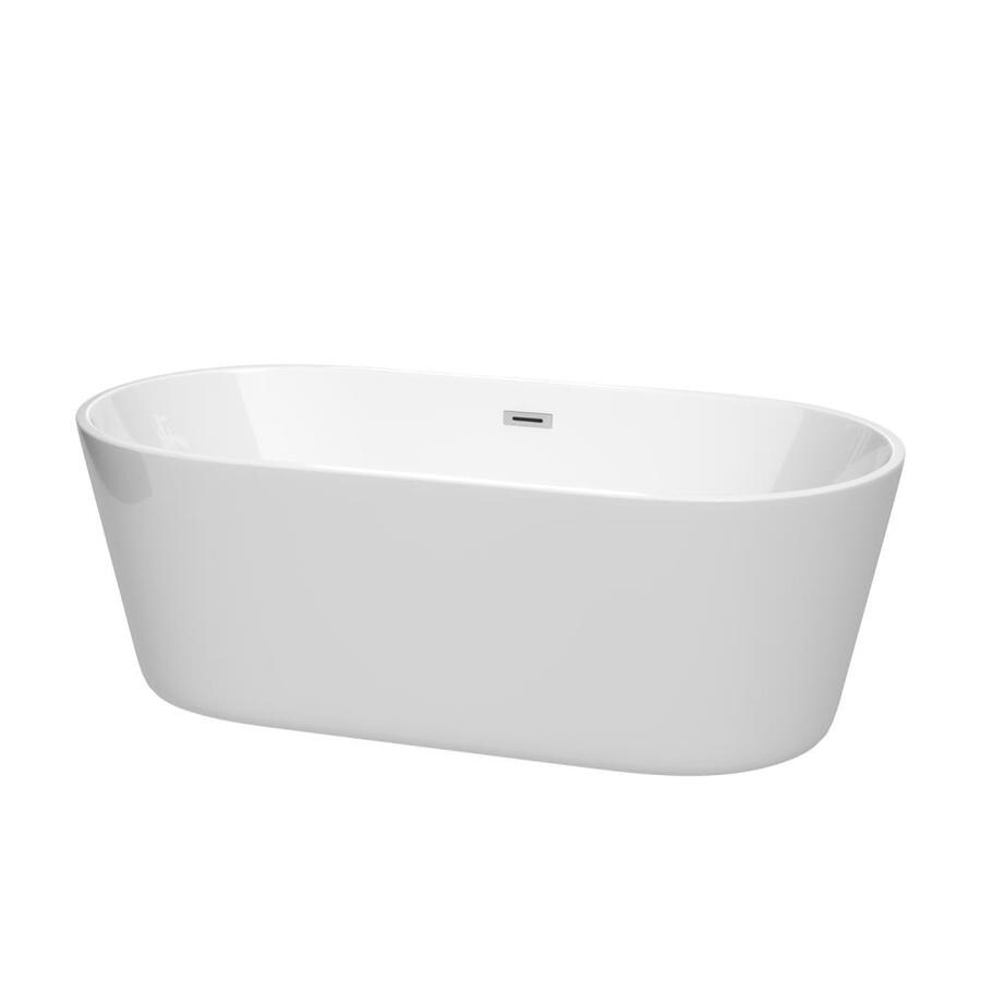 Wyndham Collection Carissa 67-in White with Polished Chrome Trim Acrylic Freestanding Bathtub with Center Drain