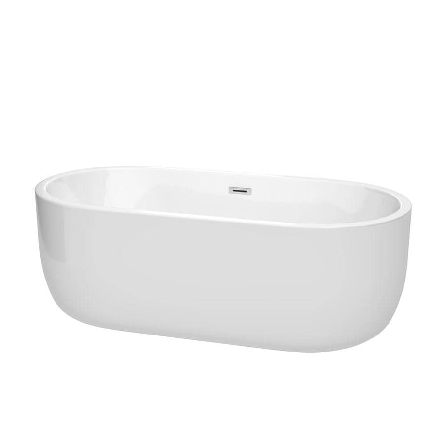 Wyndham Collection Juliette 67-in White with Polished Chrome Trim Acrylic Freestanding Bathtub with Center Drain