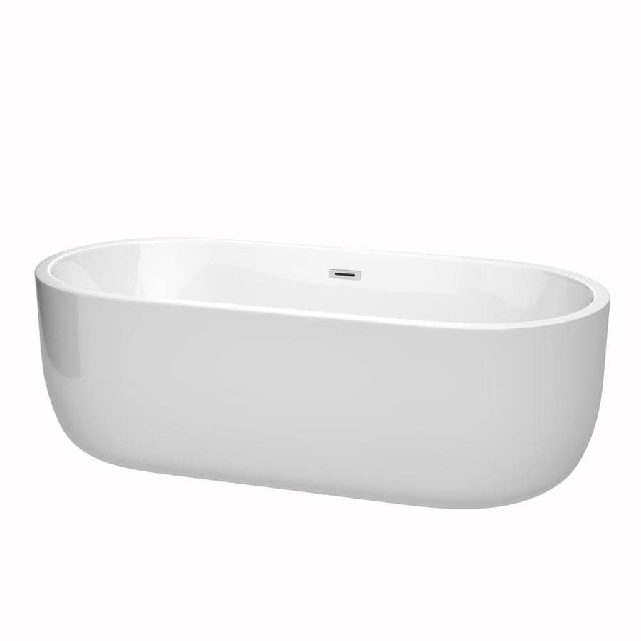 Wyndham Collection Juliette 71-in White with Polished Chrome Trim Acrylic Freestanding Bathtub with Center Drain