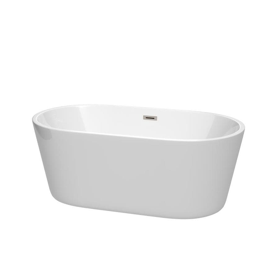 Wyndham Collection Carissa 60-in White with Brushed Nickel Trim Acrylic Freestanding Bathtub with Center Drain