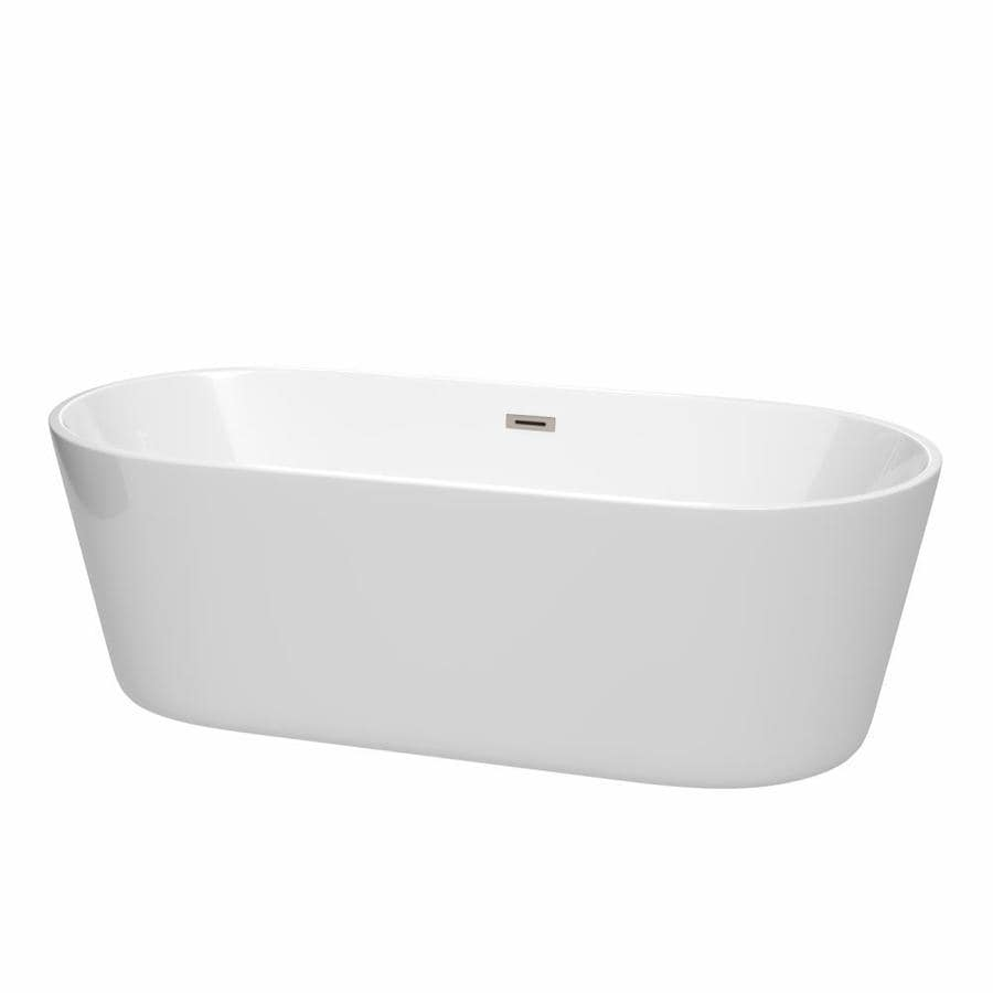 Wyndham Collection Carissa 71-in White with Brushed Nickel Trim Acrylic Freestanding Bathtub with Center Drain