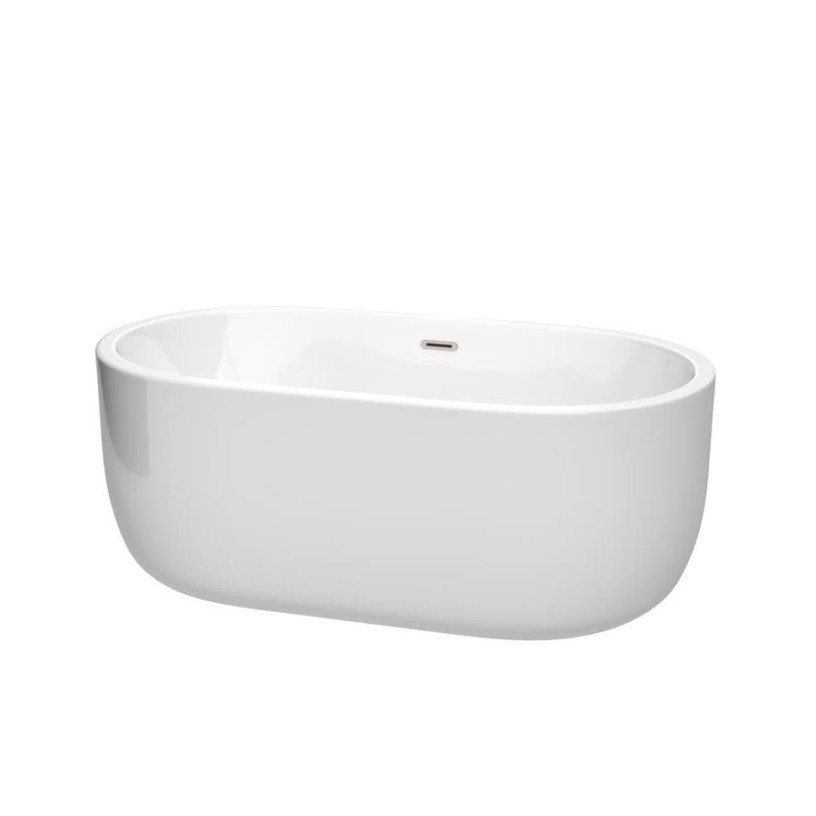 Wyndham Collection Juliette 60-in White Acrylic Freestanding Bathtub with Center Drain