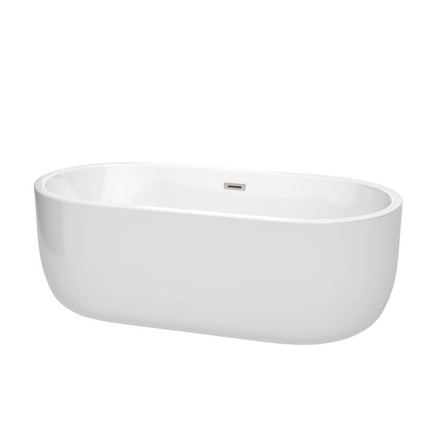 Wyndham Collection Juliette 67-in White Acrylic Freestanding Bathtub with Center Drain